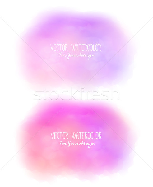 Set of 2 bright stains. Pseudo watercolor. Paint texture. Colorful daub. It can be used as backgroun Stock photo © user_10144511