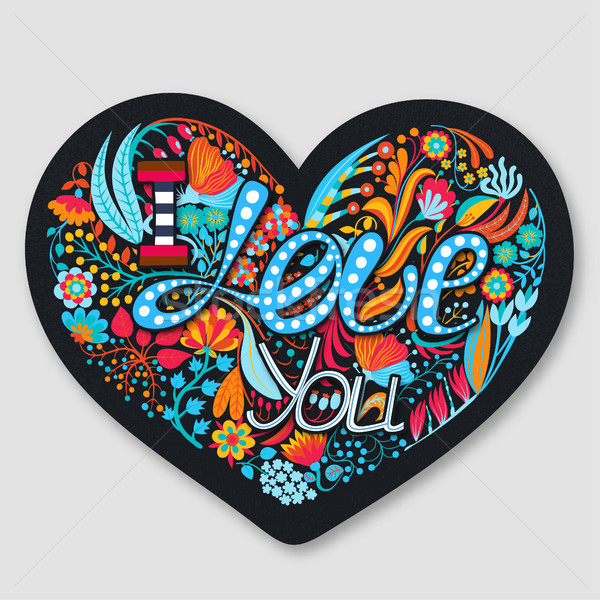 любви цветочный сердце рисованной Creative цветы Сток-фото © user_10144511
