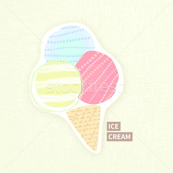 Three ice cream ball in waffle cone. Summer dessert. Cold food. Retro style. Abstract design. Textur Stock photo © user_10144511