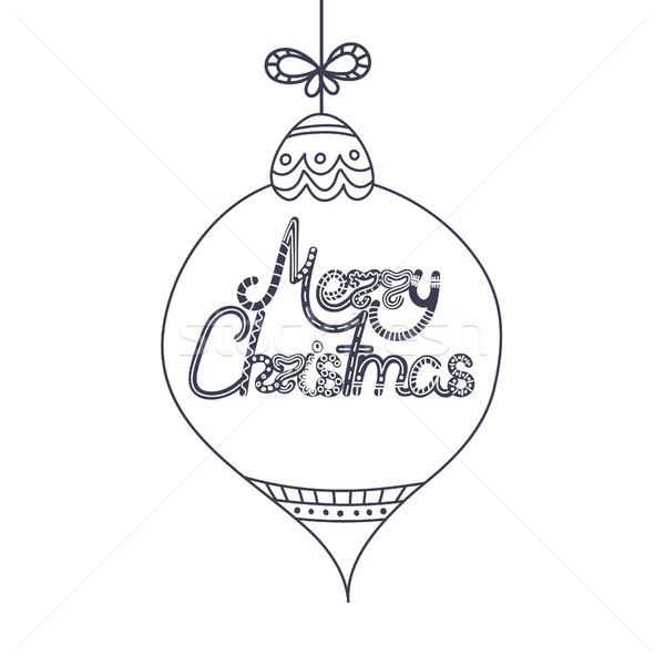 Lettering in Christmas toy. Xmas and New Year. Holiday. Doodle. Hand drawn text. Decor elements. Cre Stock photo © user_10144511