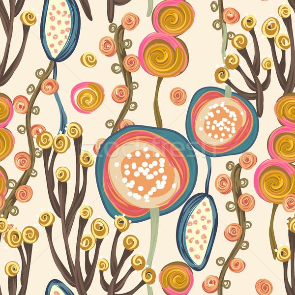 Сток-фото: цветочный · рисованной · Creative · цветы · деревья
