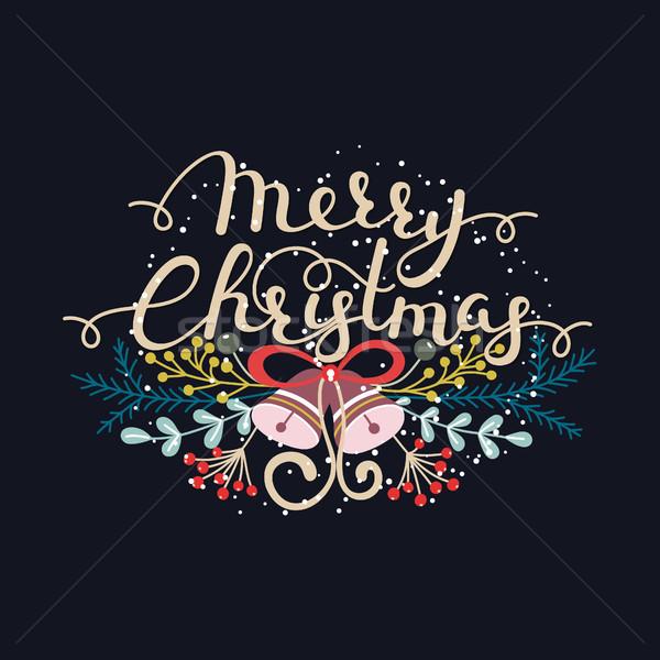 Heiter Weihnachten handschriftlich Hand gezeichnet Kräuter Schriftkunst Stock foto © user_10144511