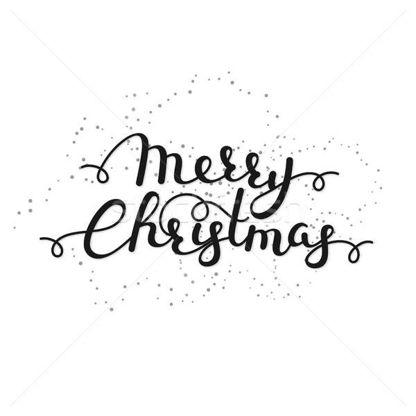 Wesoły christmas kaligrafia zimą wakacje Zdjęcia stock © user_10144511