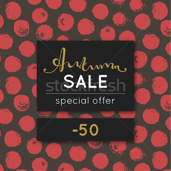 Autumn sale. Discount in fall. Special offer. Pattern with red round stain. Repeating background wit Stock photo © user_10144511
