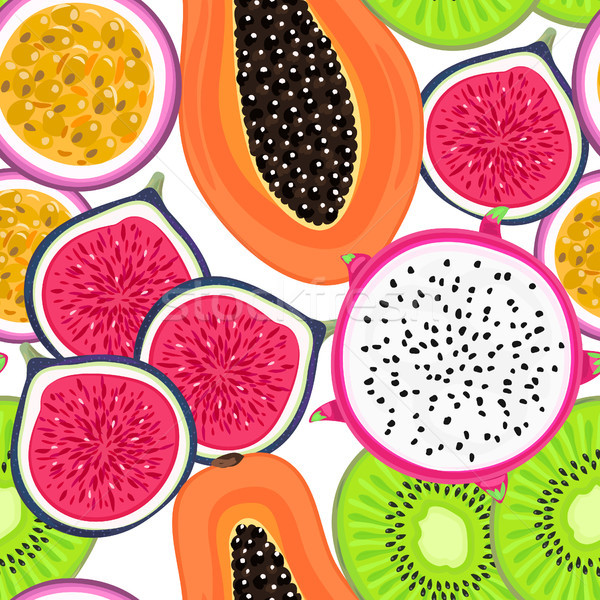 Stock photo: Vector seamless pattern with tropical fruits. Healthy dessert. Fruity background. Dragon fruit, kiwi