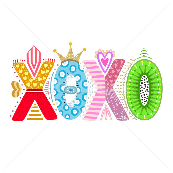 Xoxo. Hand drawn lettering. Happy Valentine's Day. Freehand style. Doodle. Decorative letters. Holid Stock photo © user_10144511