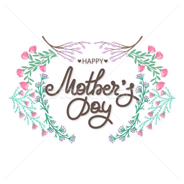 Boldog anyák napját ünnep anya virágmintás dekoráció keret Stock fotó © user_10144511