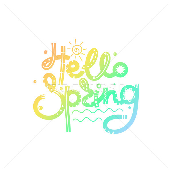 Hello Spring. Gradient creative hand drawn lettering. Freehand style. Doodle. Letters with ornament. Stock photo © user_10144511
