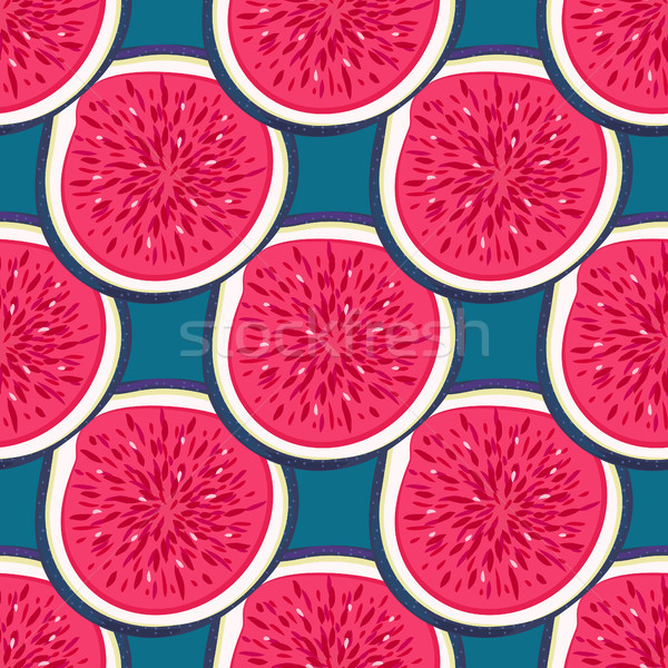 Stock photo: Seamless pattern with halves figs. Healthy dessert. Fruity repeating background. Hand drawn fruits.