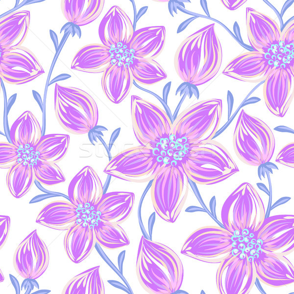 Floral seamless pattern. Hand drawn creative flowers. Artistic background with blossom. Abstract her Stock photo © user_10144511