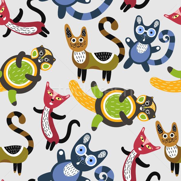 Funny kotów artystyczny cute kocięta Zdjęcia stock © user_10144511
