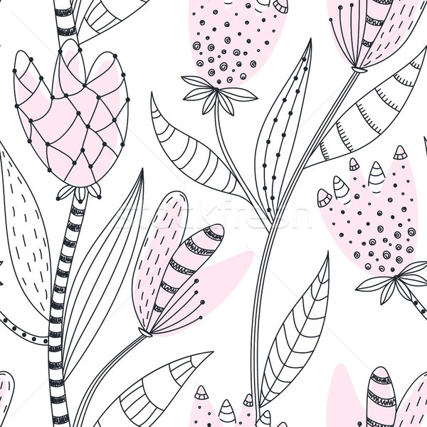 Stock photo: Floral seamless pattern. Hand drawn creative abstract flowers with doodle decoration. Colorful artis