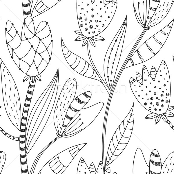 Floral seamless pattern. Hand drawn creative abstract flowers with doodle decoration. Artistic desig Stock photo © user_10144511