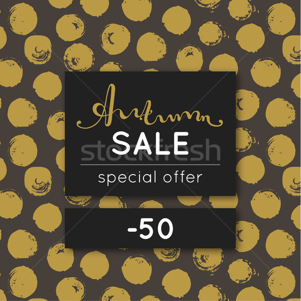 Autumn sale. Discount in fall. Special offer. Pattern with golden round stain. Repeating background  Stock photo © user_10144511