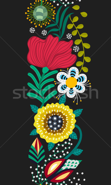 Floral seamless pattern. Hand drawn creative flowers in folk style. Colorful artistic background. Ab Stock photo © user_10144511