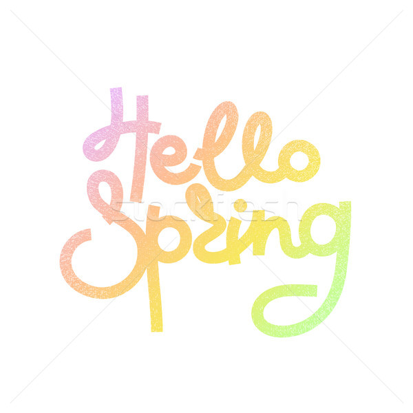 Hello Spring. Cute creative hand drawn lettering. Freehand style. Doodle. Gradient letters. Springti Stock photo © user_10144511