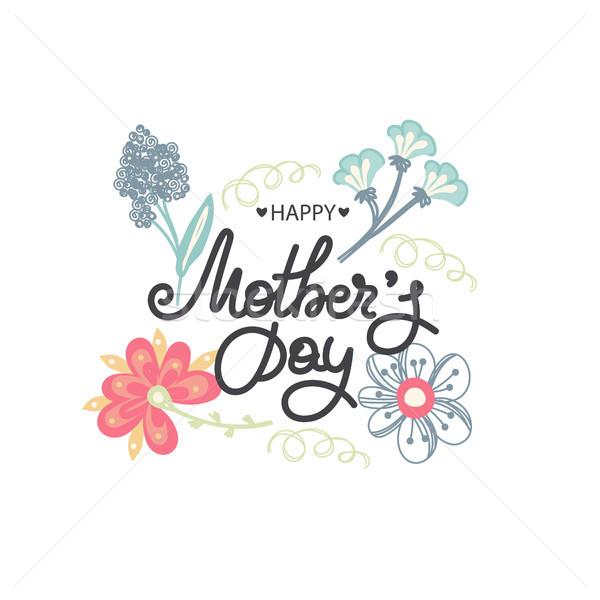 Feliz dia das mães férias mamãe floral decoração quadro Foto stock © user_10144511
