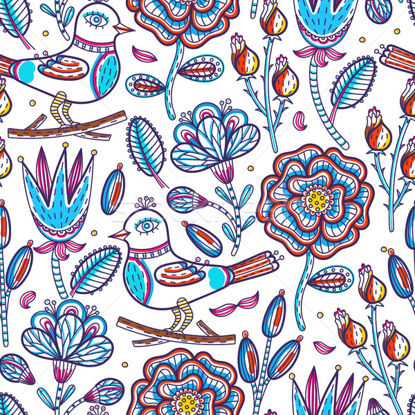 Floral seamless pattern. Hand drawn abstract creative flowers and bird with stroke. Colorful artisti Stock photo © user_10144511