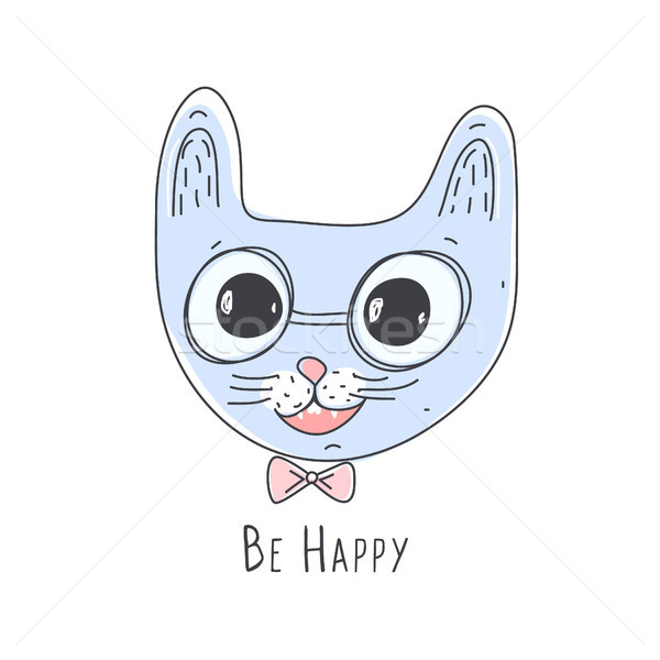 Cute pink cat head. Line art. Doodle. Funny animal in glasses. Character Stock photo © user_10144511
