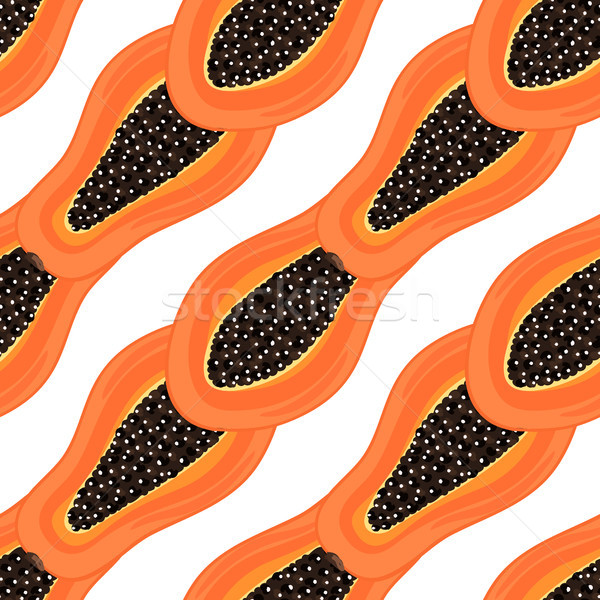 Seamless pattern with tropical fruits. Healthy dessert. Fruity background. Carica papaya. Exotic foo Stock photo © user_10144511