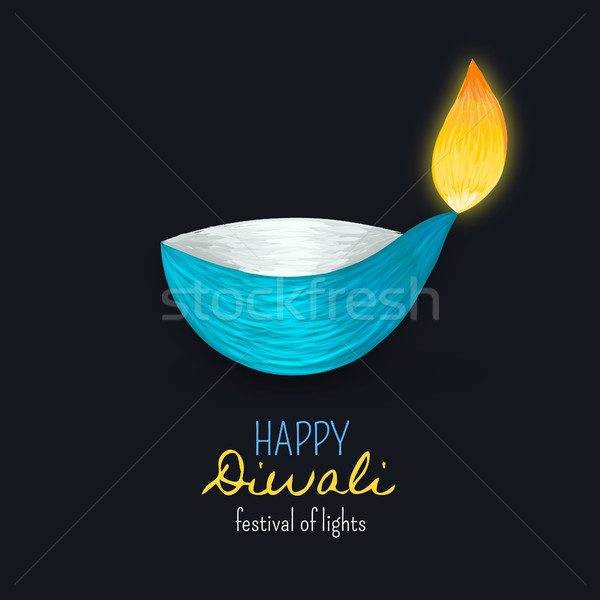 Happy Diwali. Indian diya. Festival of lights and fires. Dipawali celebration. Festive background Stock photo © user_10144511