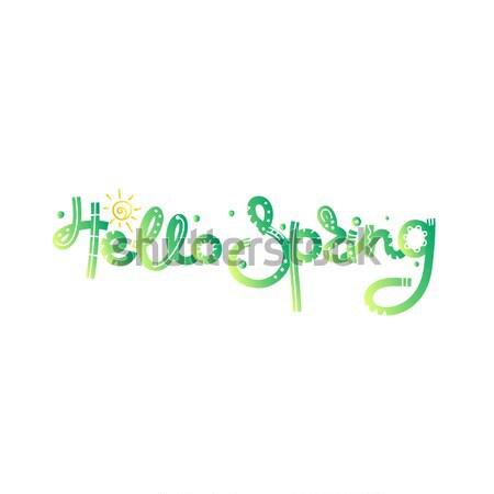 Stock fotó: Hello · tavasz · aranyos · kreatív · kézzel · rajzolt · stílus