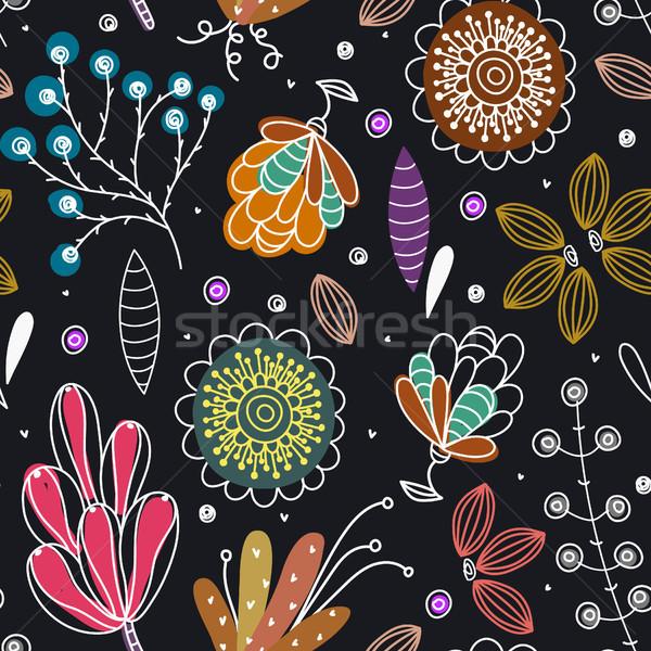 Floral dibujado a mano creativa flores colorido Foto stock © user_10144511