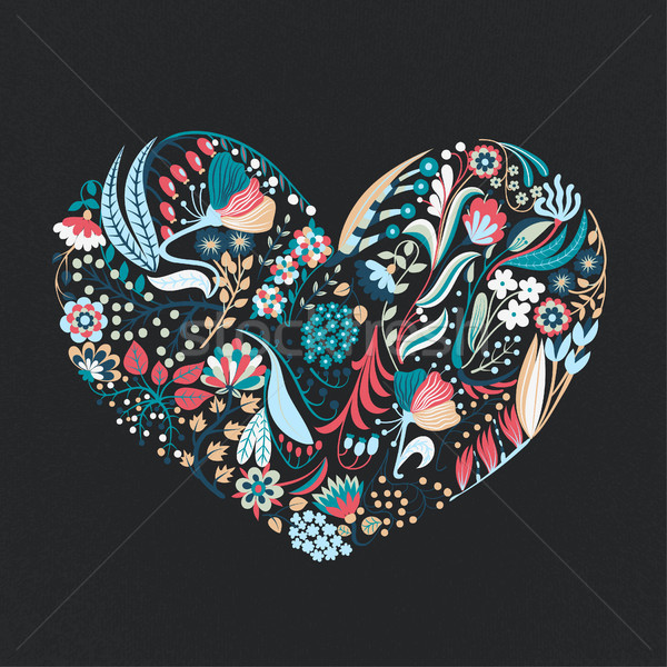 Floral heart. Hand drawn creative flowers. Romance. Colorful artistic background with blossom. Abstr Stock photo © user_10144511