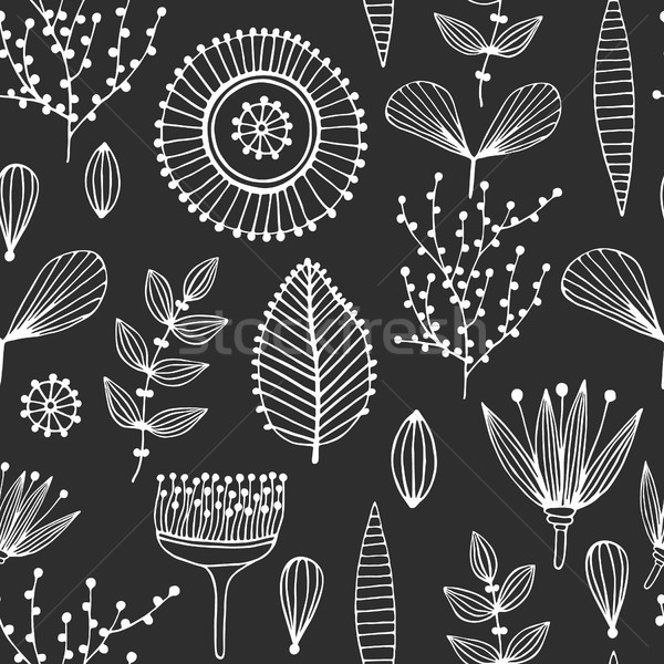 Floral seamless pattern. Hand drawn creative flowers. Lines and strips. Abstract herbs. Outline. Cre Stock photo © user_10144511