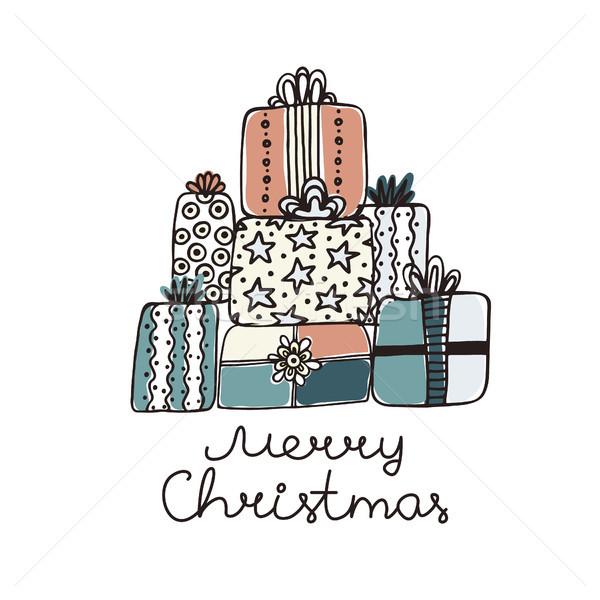 手描き 贈り物 孤立した 白 陽気な クリスマス ストックフォト © user_10144511