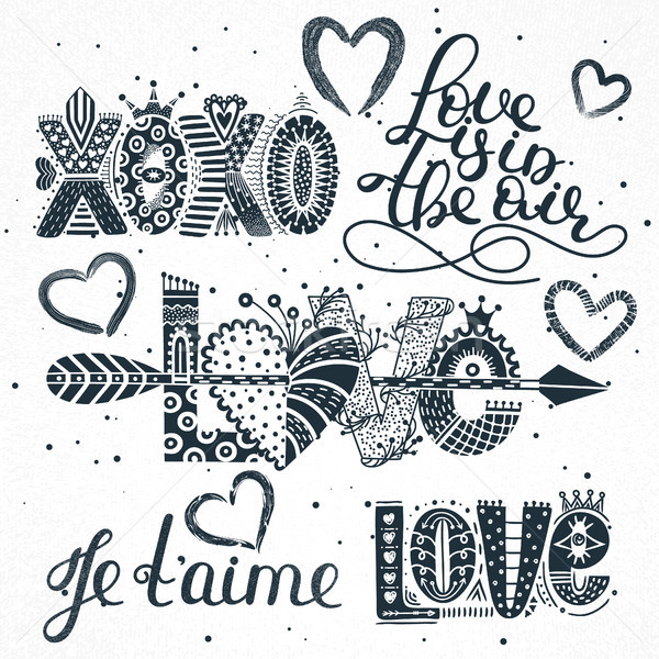 Set of love quotes. Hand drawn lettering. Happy Valentine's Day. Xoxo. Je t'aime. Freehand style. Ro Stock photo © user_10144511