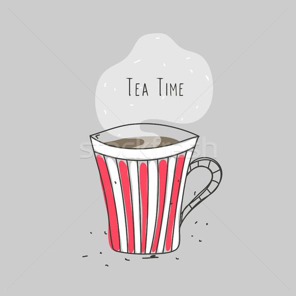 Tè tempo strisce Cup bevanda calda line Foto d'archivio © user_10144511