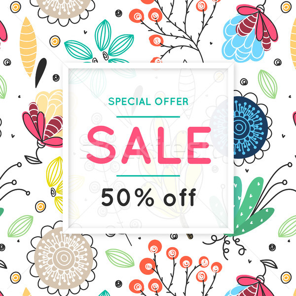 Sale. Floral pattern. Hand drawn flowers. Discount. Shopping. Commerce. Colorful background with blo Stock photo © user_10144511