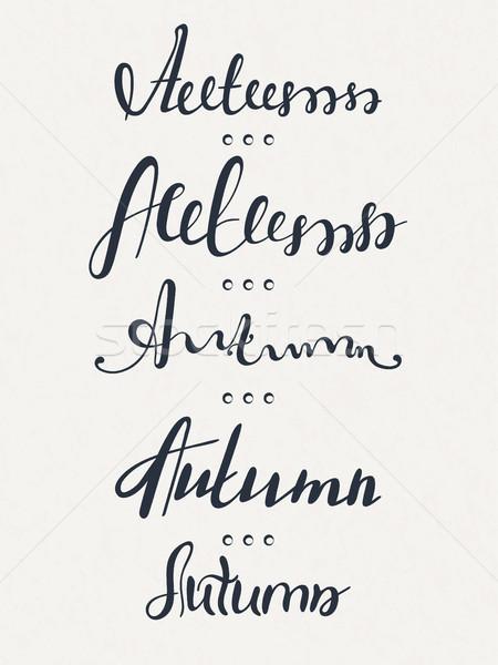 Zestaw pięć słowa jesienią kaligrafia Zdjęcia stock © user_10144511