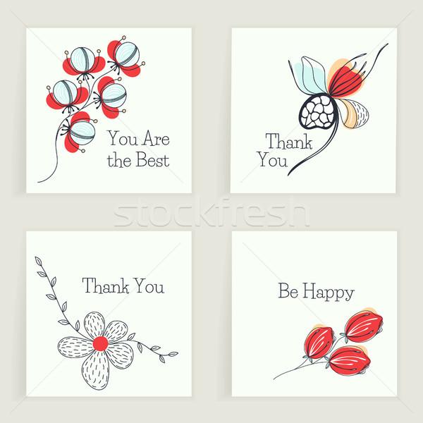 Cztery placu karty życzenia twórczej Zdjęcia stock © user_10144511