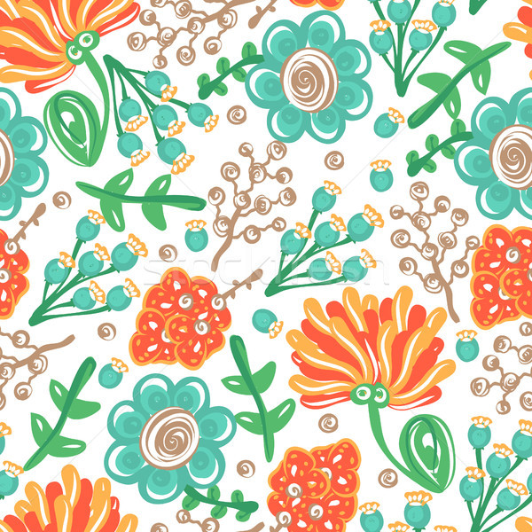 Floral seamless pattern. Hand drawn creative flowers. Colorful artistic background with blossom. Abs Stock photo © user_10144511