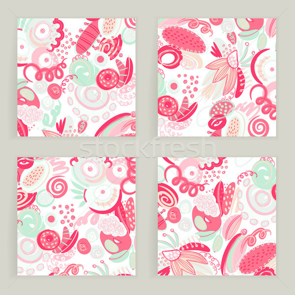 Vector set of square cards. Hand drawn abstract shapes, scribbles, spirales. Stains ans spots of pai Stock photo © user_10144511
