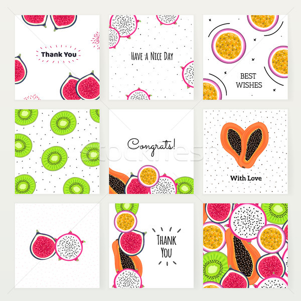 Vector set of square cards with tropical fruits. Hand drawn dragon fruit, kiwi, passionfruit, fig, p Stock photo © user_10144511
