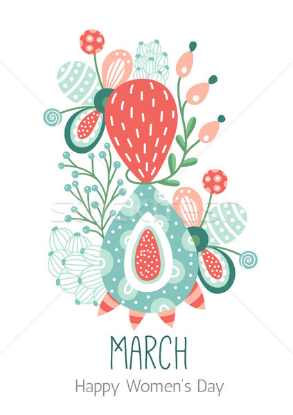 8 March. Happy Women's Day. Floral figure of eight. Spring holiday. Creative hand drawn colorful abs Stock photo © user_10144511