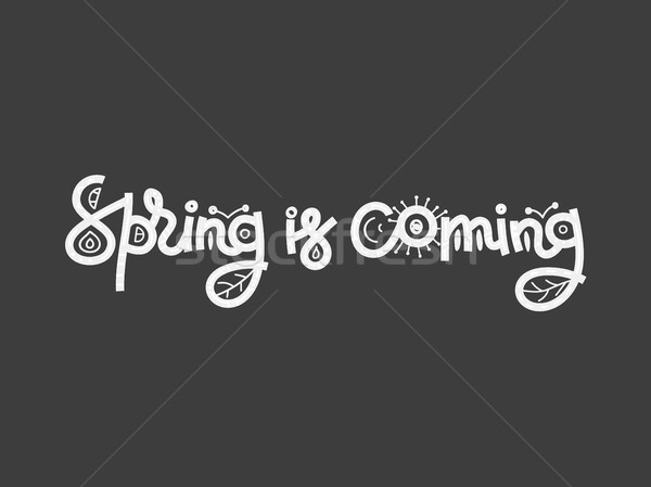 Spring is coming. Cute creative hand drawn lettering. Freehand style. Doodle. Letters with ornament. Stock photo © user_10144511