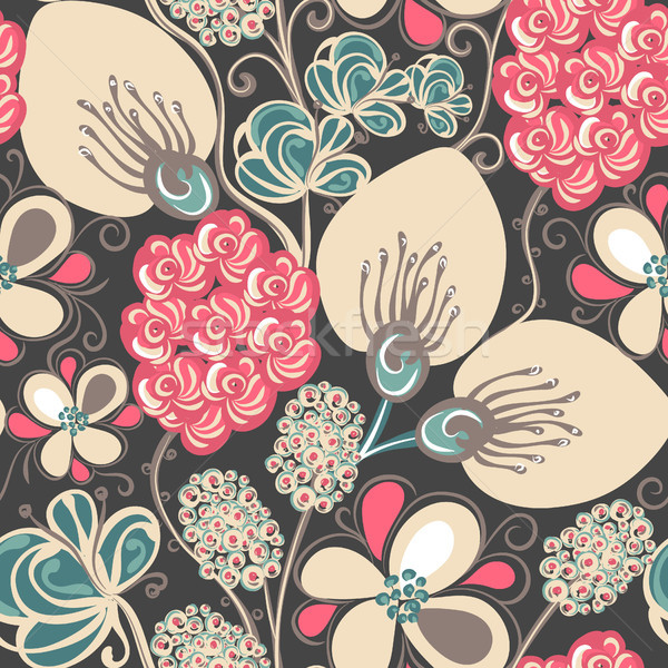 Floral seamless pattern. Hand drawn creative flowers. Colorful artistic background. Abstract herb Stock photo © user_10144511
