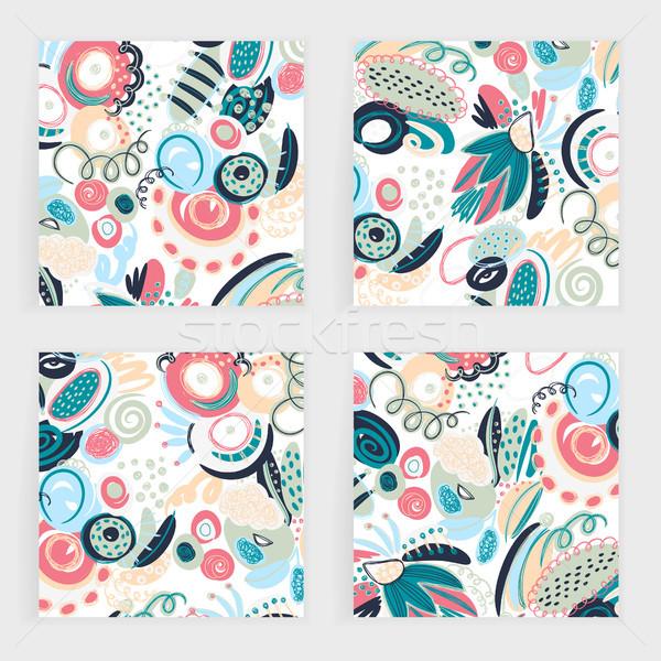 Vektor szett tér kártyák kézzel rajzolt absztrakt Stock fotó © user_10144511