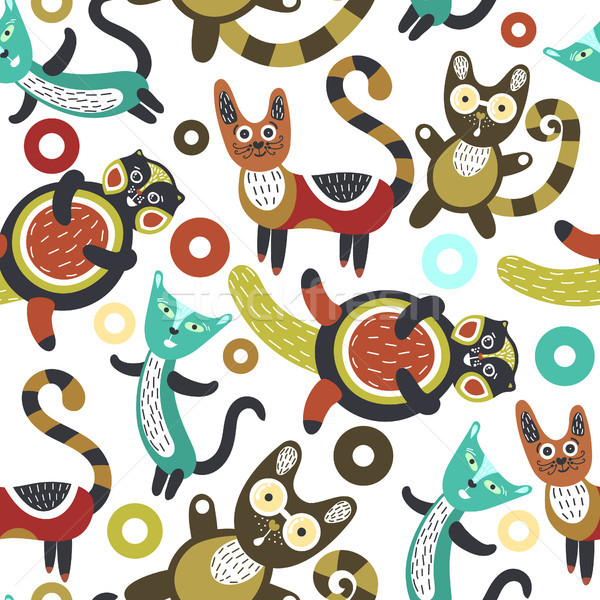 Seamless pattern with funny cats. Artistic background with cute kittens. Colorful animals. Favorite  Stock photo © user_10144511