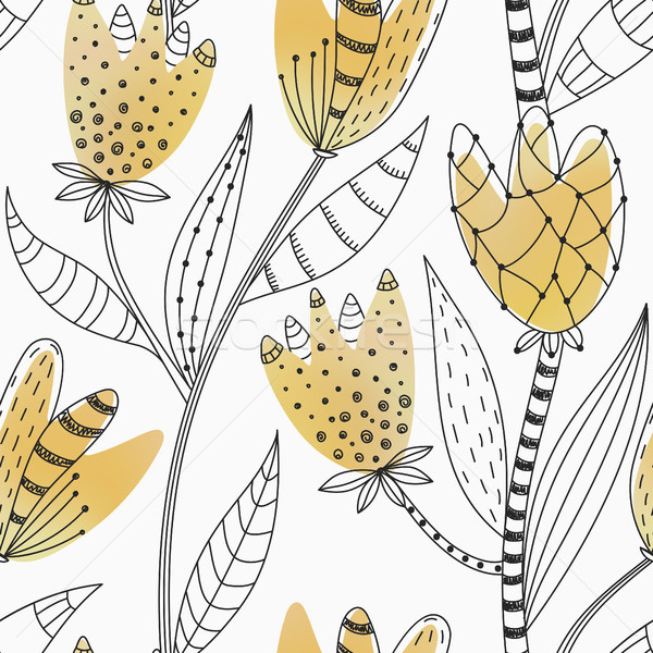 Stock photo: Floral seamless pattern. Hand drawn abstract gradient flowers with doodle decoration. Colorful artis