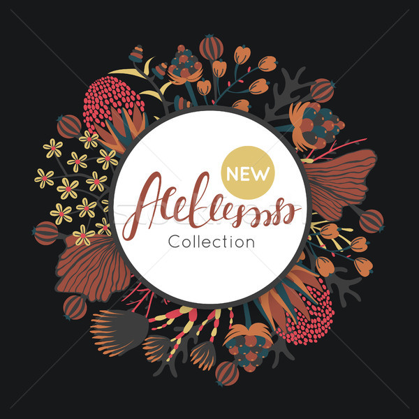 Stock photo: New autumn collection. Fall. Floral round frame. Hand drawn flowers around circle