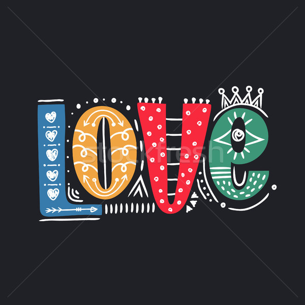 Love. Hand drawn lettering. Happy Valentine's Day. Freehand style. Doodle. Decorative letters. Holid Stock photo © user_10144511