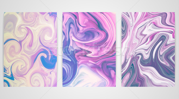 Three backgrounds with marbling. Marble texture. Paint splash. Colorful fluid Stock photo © user_10144511