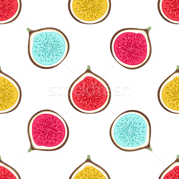 Seamless pattern with abstract varicoloured halves figs. Healthy dessert. Fruity repeating backgroun Stock photo © user_10144511