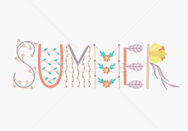 Nyár kreatív kézzel rajzolt virágmintás díszítések nyáridő Stock fotó © user_10144511