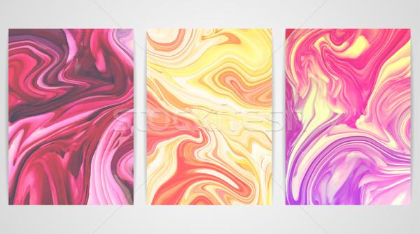 Tre sfondi marmo texture vernice splash Foto d'archivio © user_10144511